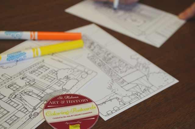 Pledge $30 - DIY Coloring St. Helens Art & Historic Postcard Set of 12 Unique Designs