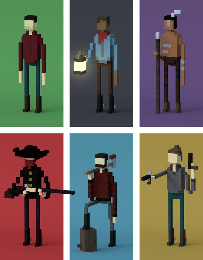You can choose to be anyone you want: man, woman, cowboy, Indian, bandit, farmer, miner, lumber jack, and more!