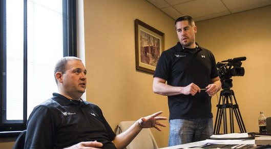 Producer Don Cole, left, and director Mark Wherley, right, explain the roles to potential actors during casting call auditions Saturday April 2, 2016 at Guthrie Memorial Library (Photo: Shane Dunlap, The Evening Sun)
