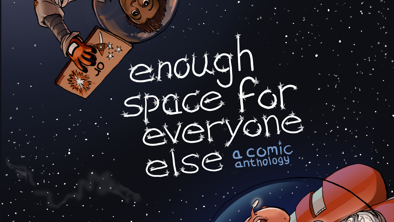 An anthology of sci-fi comics/illustration/text showcasing diverse creators, characters, and tones—with no war/imperialism narratives!