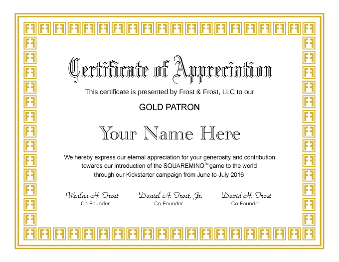 Personalized Certificate of Appreciation for SQUAREMINO™ Gold Patron