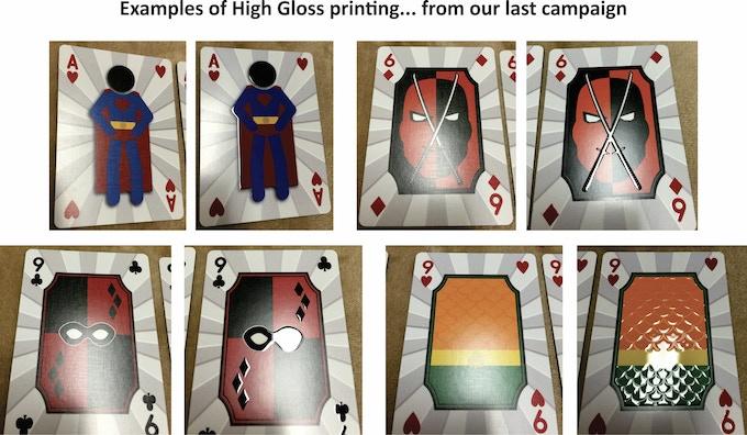 Left Card = Standard print / Right Card = High Gloss print