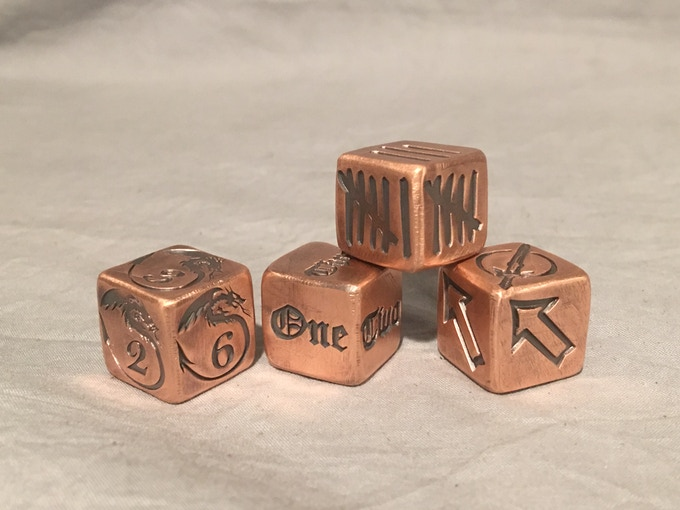 Here's what the four additional designs look like on the actual dice!