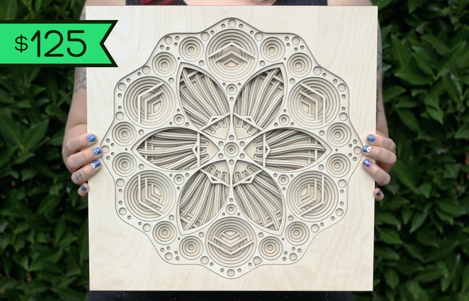 "$125 Reward: Apollonian Flower Mandala 14"" x 14"" - Evokes cellular growth and microscopic life"
