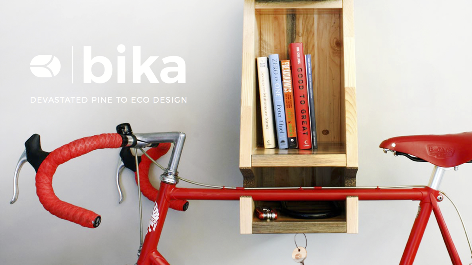 Crafted from exotic blue-streaked pine beetle kill wood, Bika elegantly displays your bike, holds your gear, and mitigates pollution.