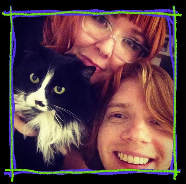 Ashley, Antonio, and our development cat Mrs. E.L. Fudge