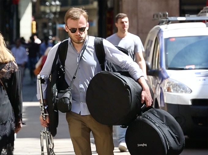 Traditional drum sets are hard to carry