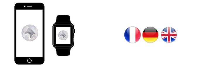 The app is conceived for iOS, Android and connected watches, and developed in 3 languages