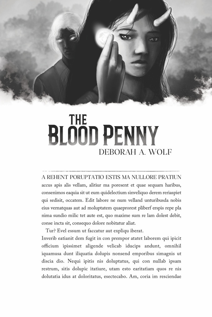 Interior art by Jason Deem for Bloodpenny by Deborah A. Wolf