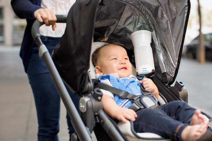 Keep your baby safe on the go with the Wynd Stroller Holder. In a semi-enclosed stroller, Wynd can reduce PM2.5 (fine particles) by over 50% and PM10 (coarse particles) by over 70%.