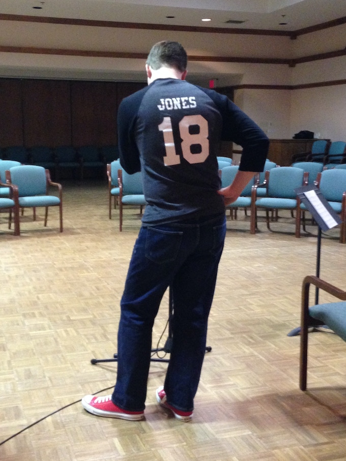 Chris modeling the back of his A/B Duo Jersey. Get your name and number on your own!