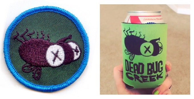 """The 2x2"""" patch and foam koozie we will be shipping as physical rewards!"""
