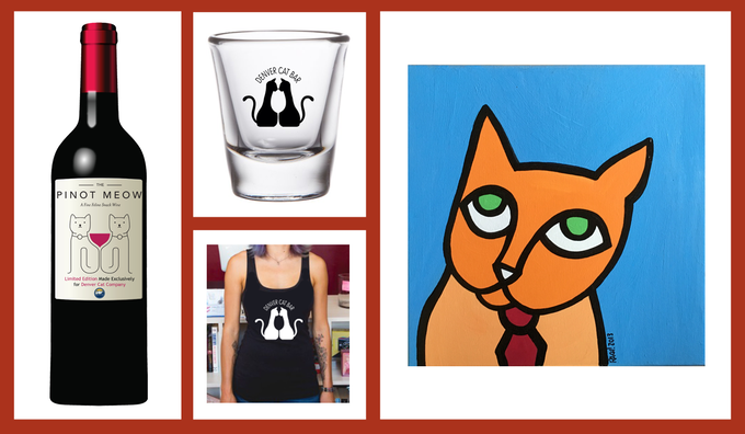 Get great rewards like Pinot Meow, (a non-alcoholic catnip treat for cats), Denver Cat Bar glassware, shirts, or custom art from Rachael Weiss!