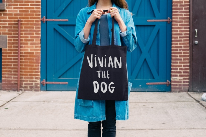 """""""Vivian the Dog"""" tote by our friends at Totally Good Time"""