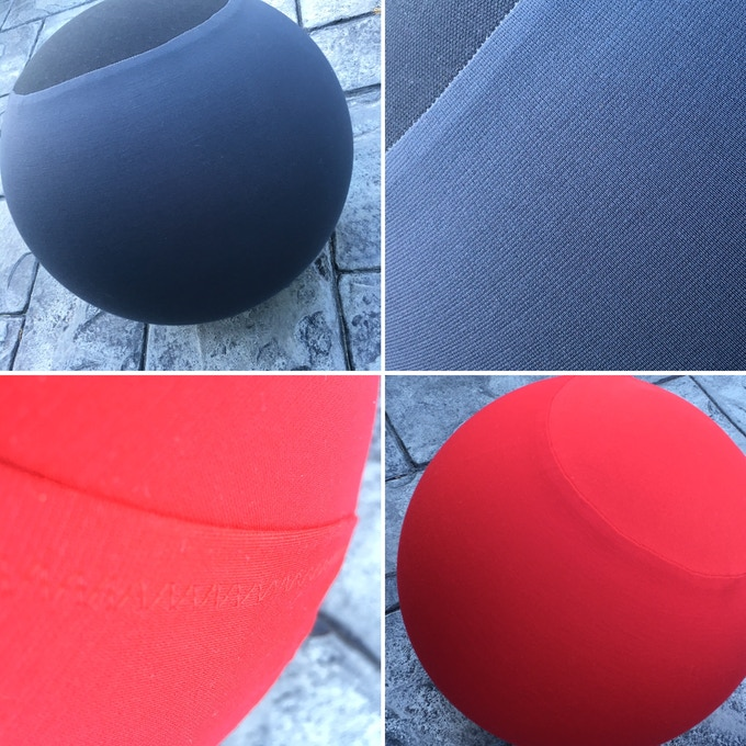the ball covers have a canvas top and bottom panel for durability, and a single stretch-stitched seam for inflation.