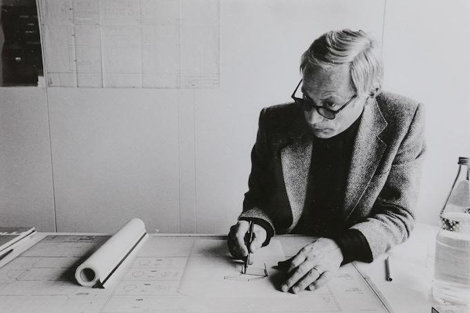 Dieter Rams at work at Braun, circa 1970s. Photo by Abisag Tüllmann
