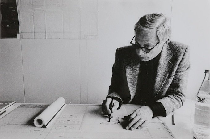 Dieter Rams at work at Braun, circa 1970s. Photo by Abisag Tüllmann