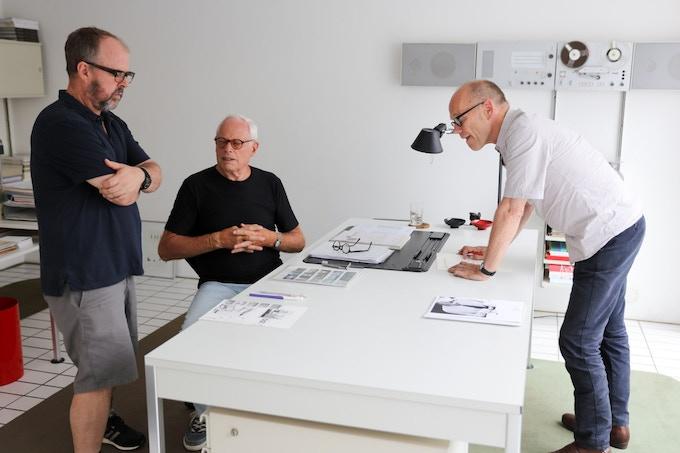 Gary Hustwit, Dieter Rams, and Erik Spiekermann during filming