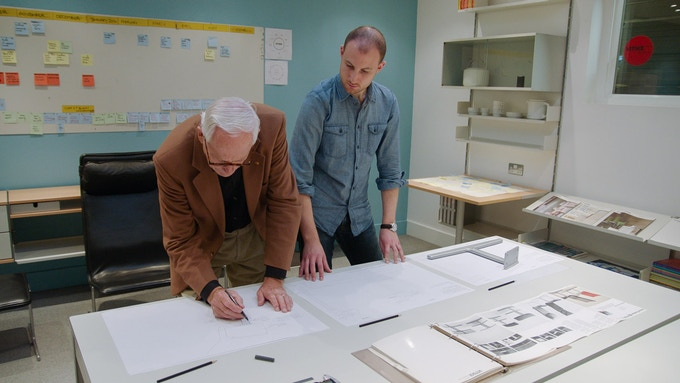 Dieter at Vitsoe London working on a re-design of his 601 chair