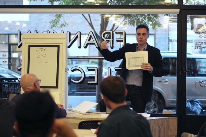 Lev Moscow teaching on the 2008 financial crisis at a coworking studio in Crown Heights, Brooklyn