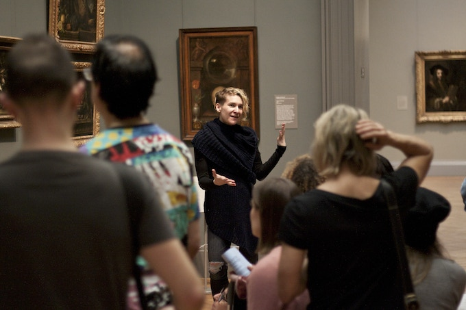 "Monica Marino teaching an Olio entitled ""Senses of Sight"" at the Metropolitan Museum of Art"