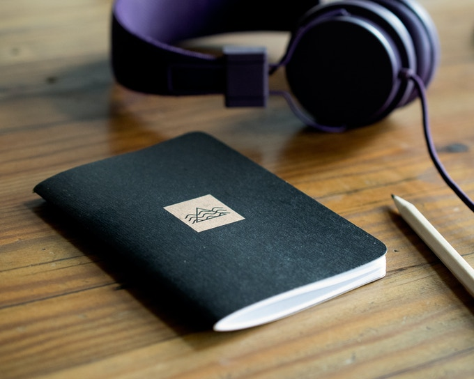 An example of a notebook printed by Scout Books and designed by Marmoset, a music agency out of Portland.