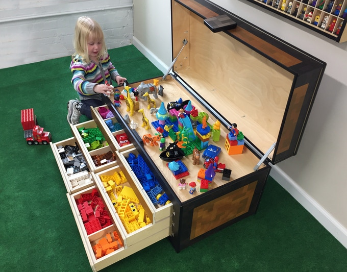 3 year old Alexis loves to play on the Maker's Chest build platform