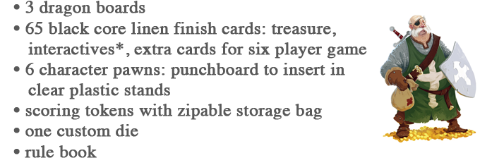 *Interactives are the sword, shield, crown, sceptre, cloak, and Dragon Action cards. Cards to measure 63 x 88 mm
