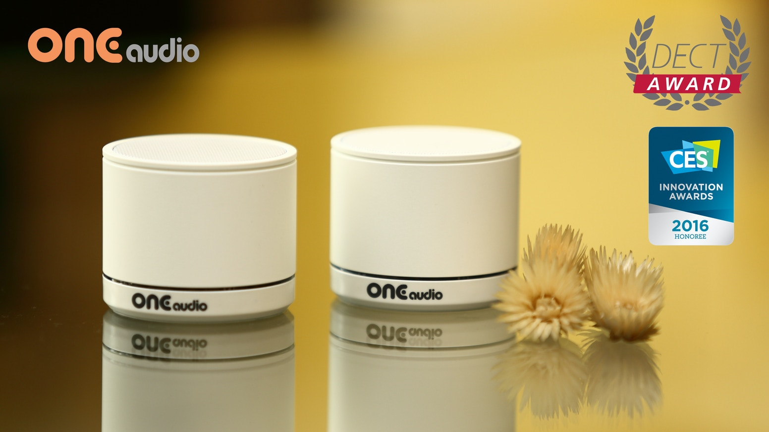 ONEmicro : The TRUE stereo wireless speaker, DECT technology break the limit of Bluetooth giving clean, pure and rich sound.
