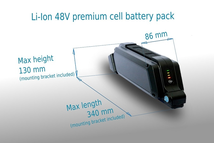 Battery dimensions are the same for all power versions
