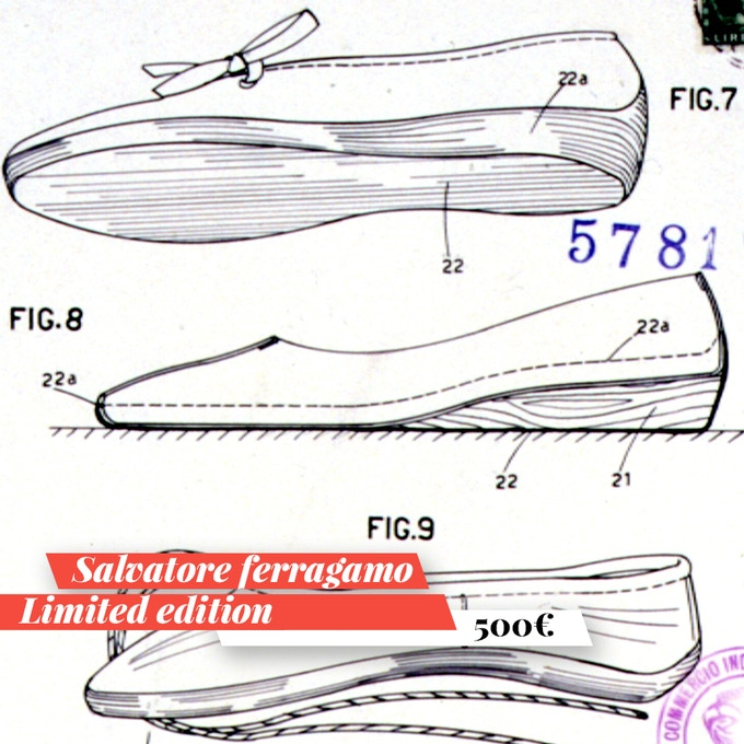 Salvatore Ferragamo in limited edition. For you a unique item: an autographed and authenticated copy of a patent to choose from the four made available by Ferragamo for the Maggio Fiorentino.