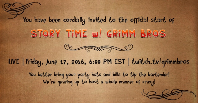 STORY TiME w/ GRIMM BROS! Join our weekly Creative Twitch Stream