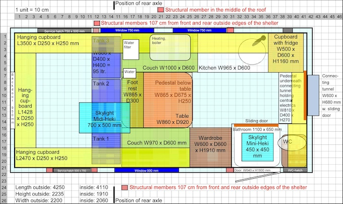 Designing your individual floor plan is very easy with the planning tool coming with the book / e-book for free. There are more than 10 layouts you can choose and modify them to your needs.