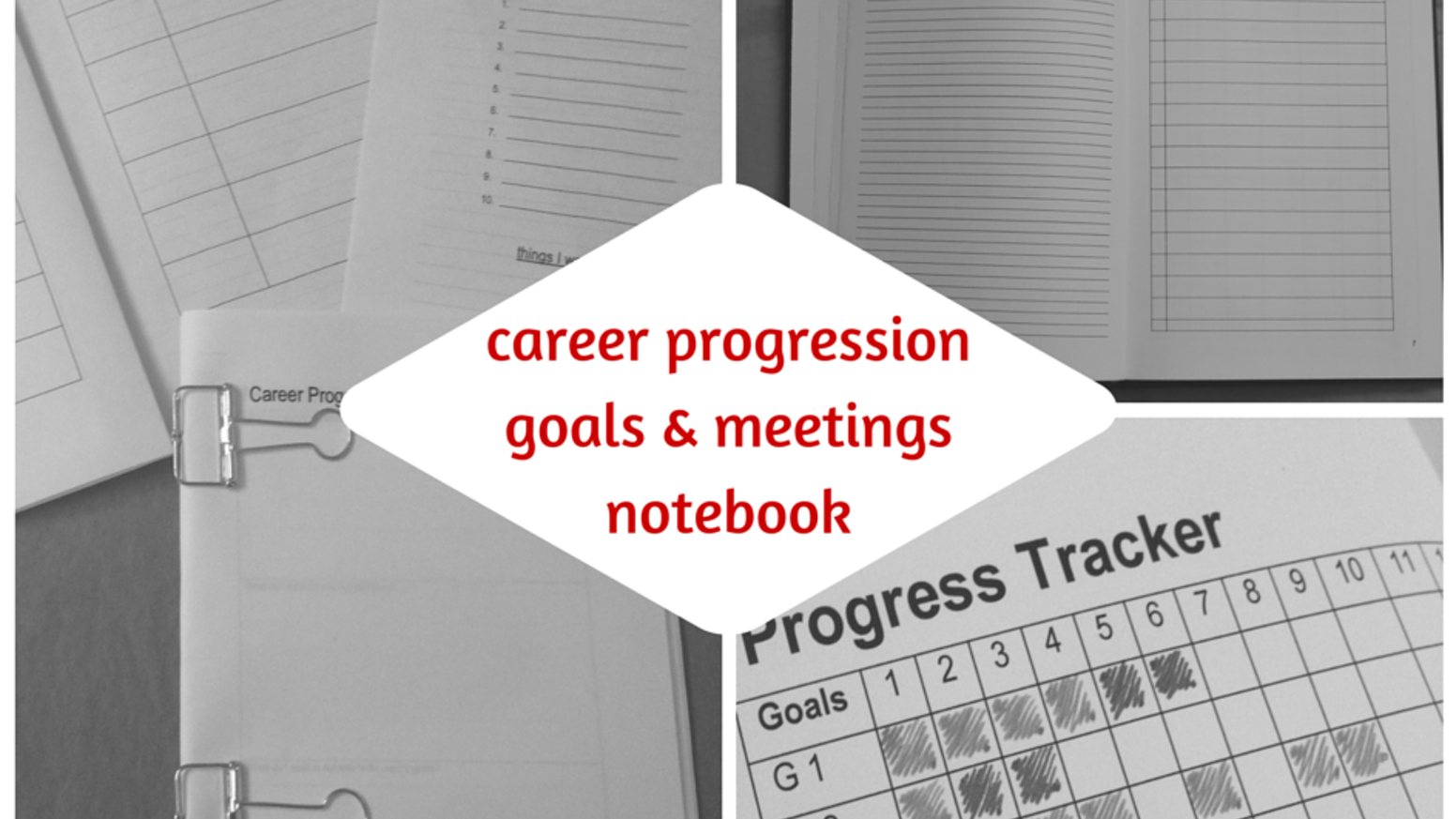 A functional notebook and planner designed to help you reach your career goals and plan for your performance reviews more effectively.