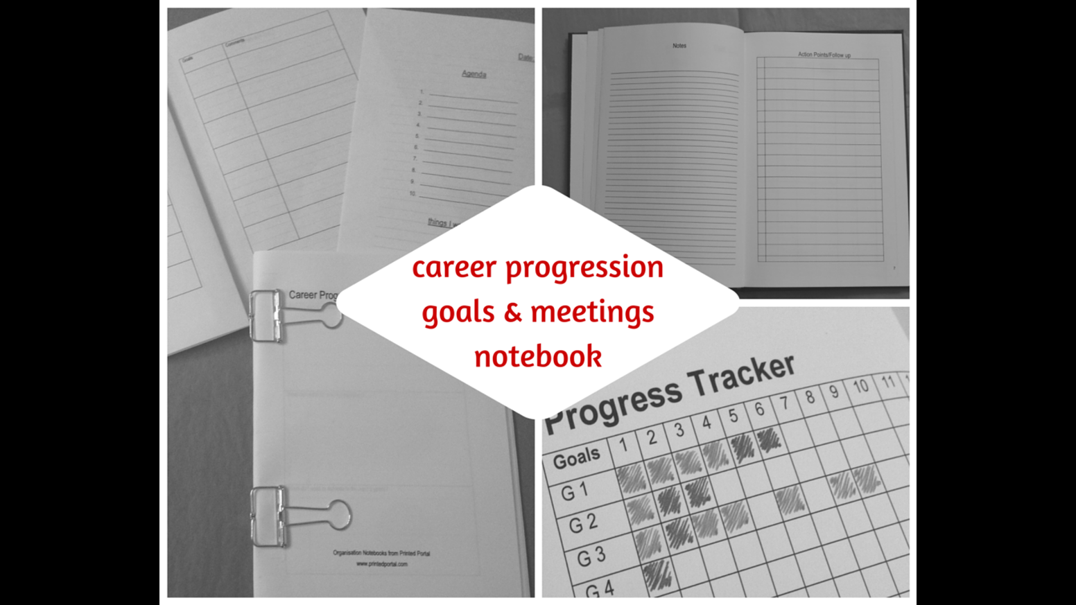 career progression goals meetings notebook by printed portal a functional notebook and planner designed to help you reach your career goals and plan for