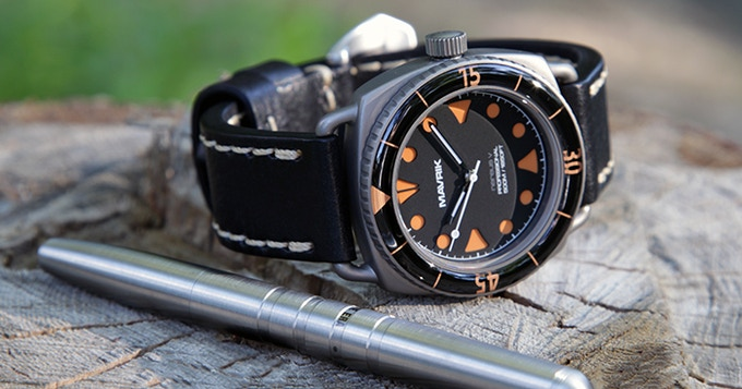 "Grade 2 Titanium Nereus V - ""Orange Crayon"" - Swiss Automatic"