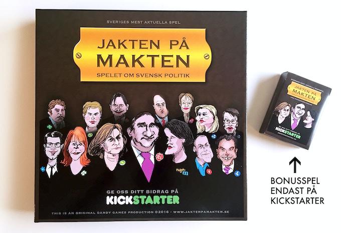 Kartongen för brädspelet, här med den lilla specialversionen av spelet i kortspelsformat, endast för dig som sponsrar på Kickstarter.