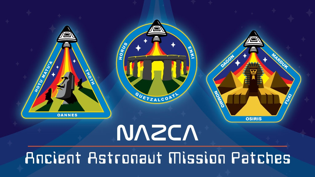Ancient Astronaut space mission patches featuring Stonehenge, Easter Island Moai heads, Sphinx & pyramids as NASA-style insignia.