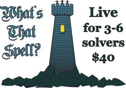 What's That Spell? Live, 3-6 solvers, $40