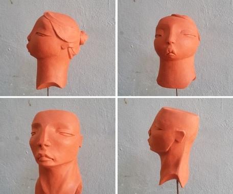 Reproducción a escala de una de estas cabezas. / a scale resine model of one of these heads. 45 € / 80 € both