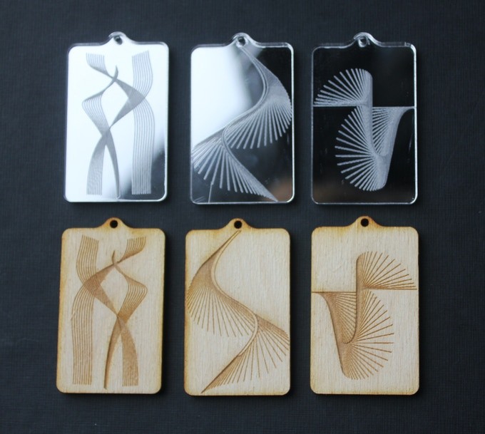 Collection of Wood and Acrylic Mirror Laser-Cut Pendants
