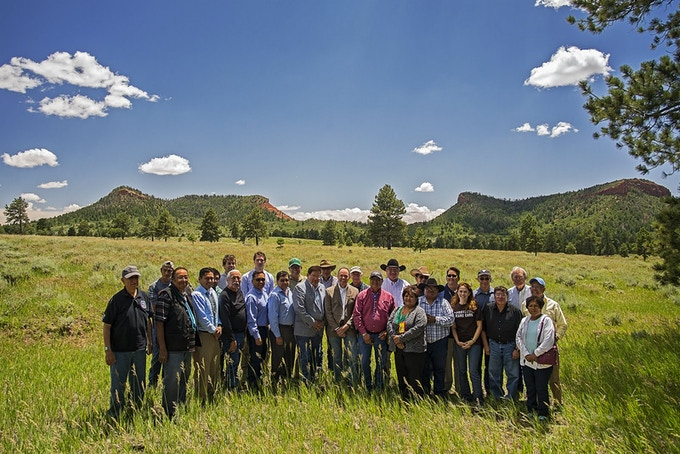 Tribal and Federal Group with Bears Ears Buttes - Photo Courtesy of Tim Peterson