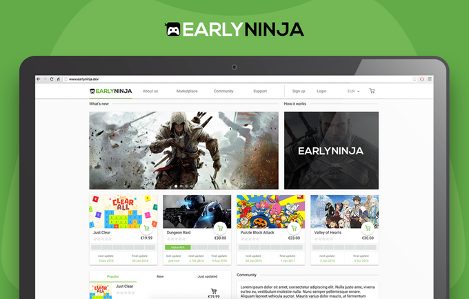 EarlyNinja Homepage (disclaimer: images are only placeholders and do not reflect the final product - we do not own any of the material)