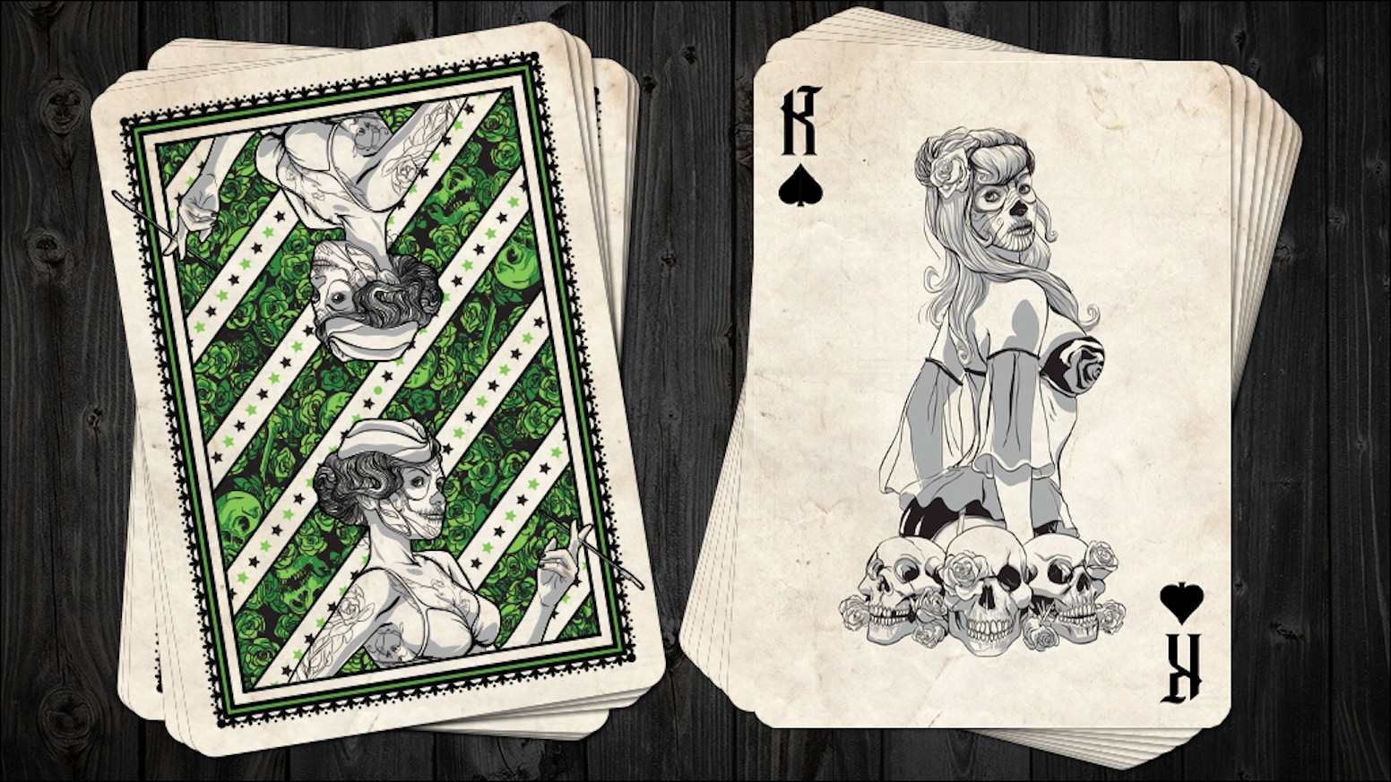 Classic Pin-up Playing Cards inspired by The Day of the Dead. Hand drawn illustrations.