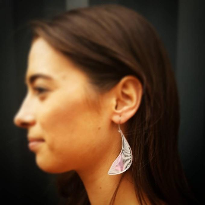 Maialen wearing the Tangential Dreams Earrings (Reward 2)