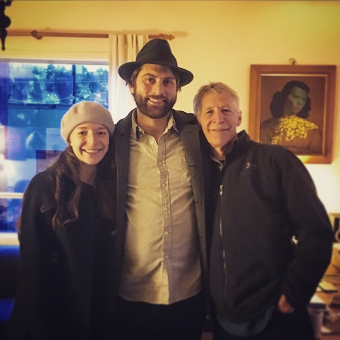 Caitlin Belem (vocals, fiddle), Joe Seamons (guitar) and David Romtvedt (accordion) after recording two tracks in Seattle, WA