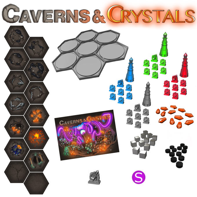 The full contents of the box (other than the box itself): A deck of fully illustrated hexagonal cards, over 60 high quality plastic minis and tokens, A full color narrative rule book and a vacuum molded box insert for game play and storage.