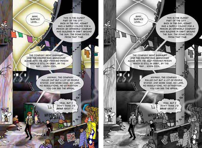 Hunter's Moon, page 59: color vs. b&w