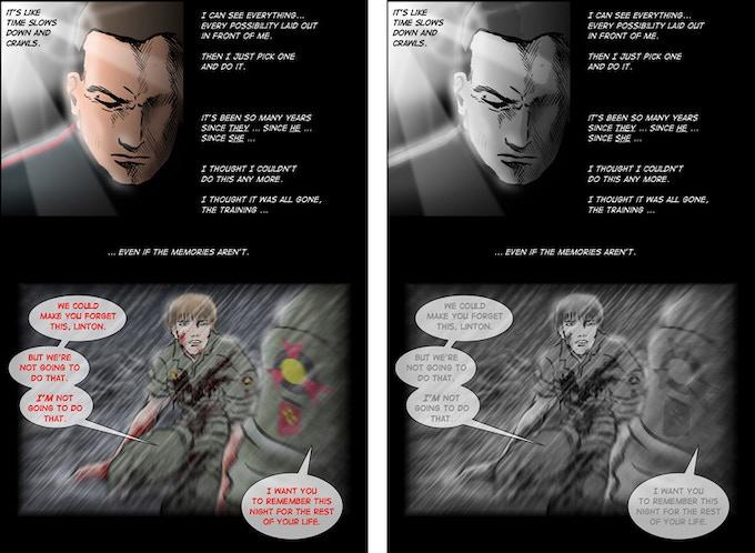 Hunter's Moon, page 120: color vs. b&w