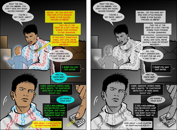 Hunter's Moon, page 107: color vs. b&w